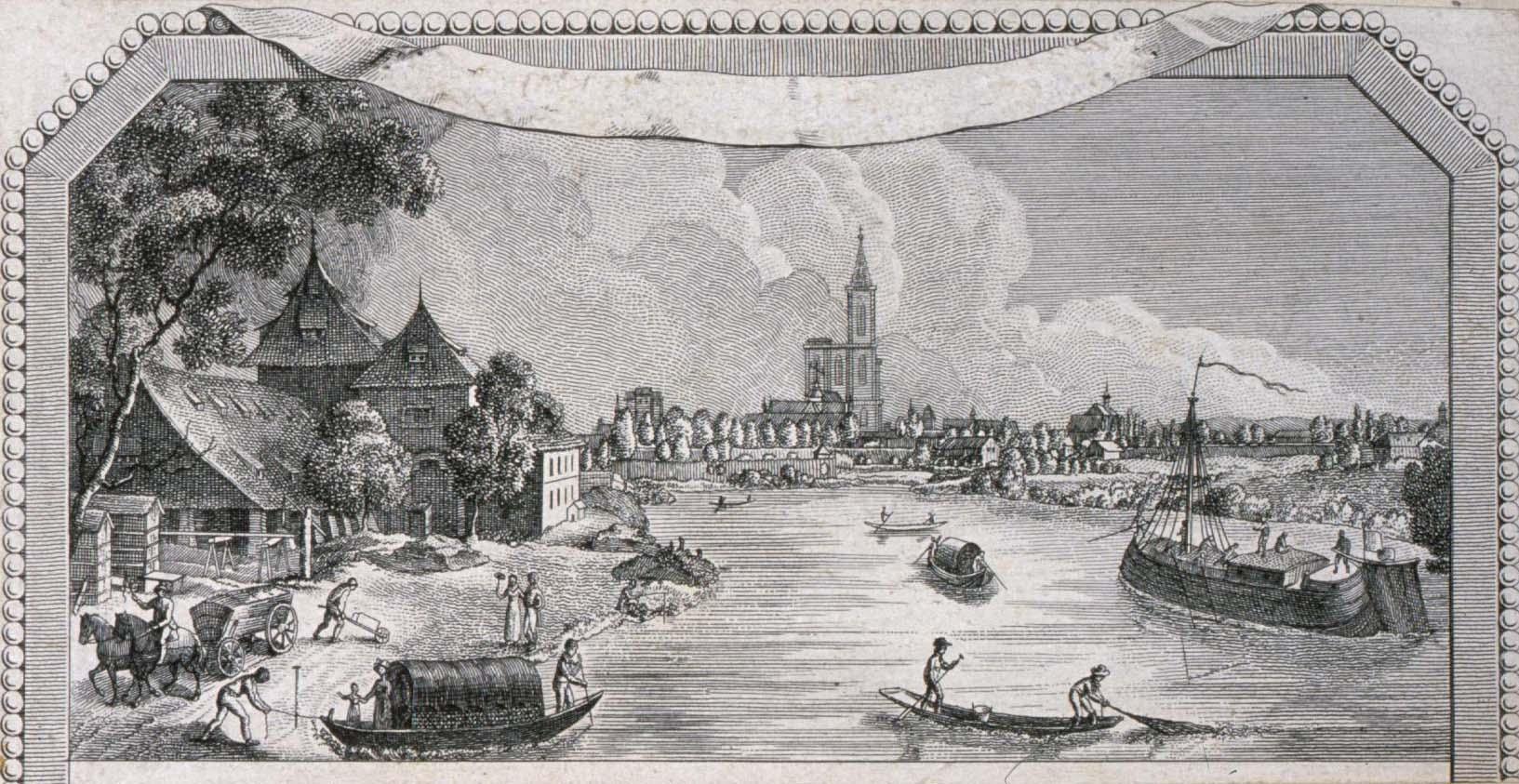 Vue de Strasbourg prise de l'ancien Wasserzoll dans la Robertsau